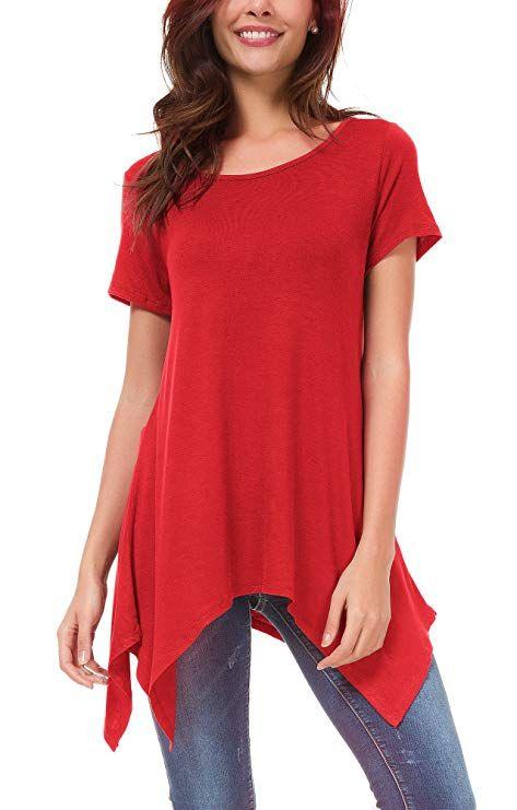 85a3ad4d7696b5 Damen Kurz Ärmel Lose Langshirt T-Shirt sidetale Tunika Tops Bluse (XXXL,  Rot