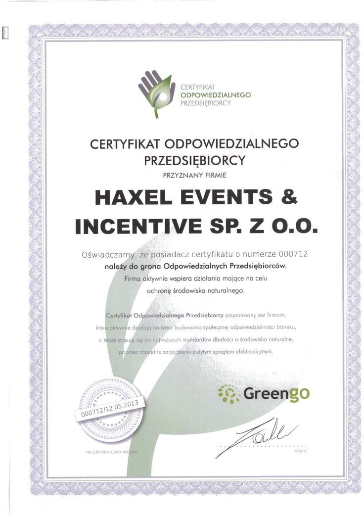 Miło nam poinformować, że otrzymalismy Certyfikat Odpowiedzialnego Przedsiębiorcy wydawany przez GreenGo. Certyfikat przyznawany jest firmom, które stosują się do wysokich standardów dbałości o środowisko naturalne, poprzez rozsądne zarządzanie zużytym sprzętem elektronicznym.