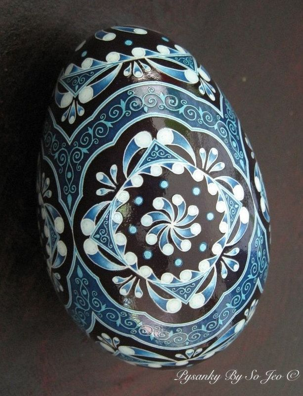 China Blues Pysanka Batik Egg Art   Pysanky by So Jeo