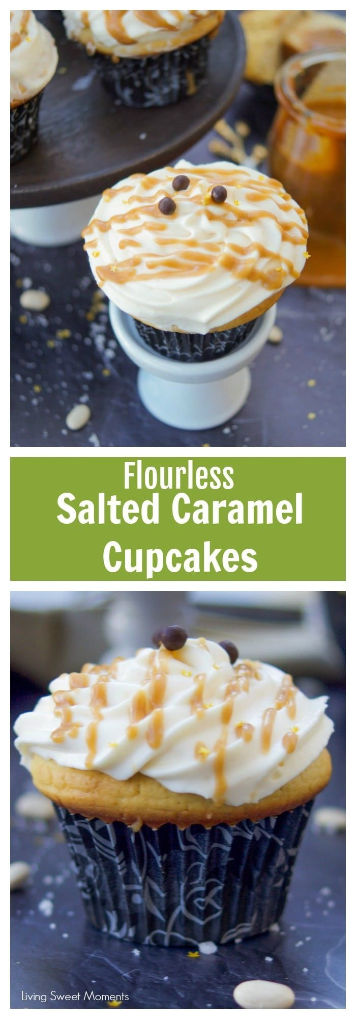 These decadent Salted Caramel Cupcakes have only 148 calories!!, flourless, & high in protein. Served with creamy frosting and caramel sauce. Dessert without the guilt. More healthy recipes at livingsweetmoments.com via @Livingsmoments #ad #TrimHealthyTable