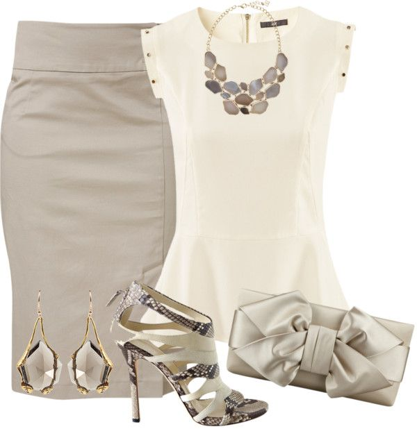 """""""Beige Pencil skirt and top"""" by missyalexandra ❤ liked on Polyvore"""