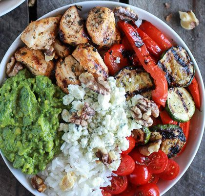 Quick & Easy Dinner Recipes - California Chicken Veggie Avocado and Rice Bowls - Click Pic for 40 Cheap & Healthy Meals on a Budget