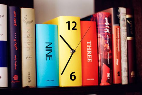 Book clock - how clever is this?! Too bad Amazon review say the quality isn't too high. I wonder if I could build one myself...