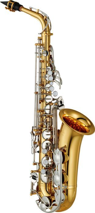 YamahaYAS-26 Standard Alto Saxophone (NOTE: This is a closer-up photo of the alto than of the tenor.  Obviously, an alto would be, and is, smaller than a tenor! - SB)