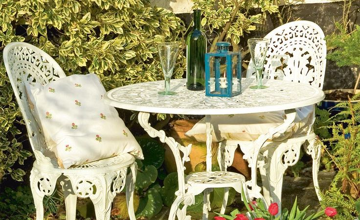 Metal garden furniture kept outdoors will eventually succumb to the effects of the weather, with flaking paint and colonisation by algae. Helaine Clare shows how to spruce up chairs and a table over a weekend.