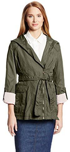 $32, Olive Trenchcoat: Jessica Simpson Aymmetrical Zip Raincoat With Hood. Sold by Amazon.com. Click for more info: https://lookastic.com/women/shop_items/195441/redirect