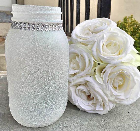 Diamond Dust Glitter Quart Size Mason Jar by WeddingParasols