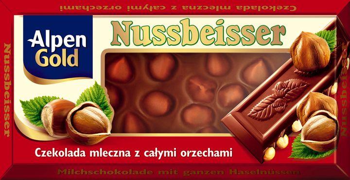 Nussbeisser - milk chocolate with whole hazelnuts (Alpen Gold)