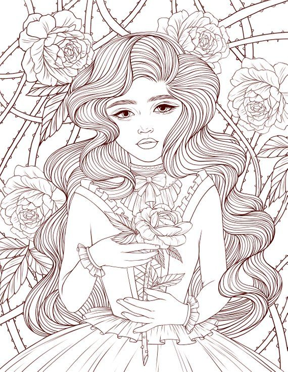 Adult Coloring Page Lady Rose Digital Coloring Page Printable 8 5
