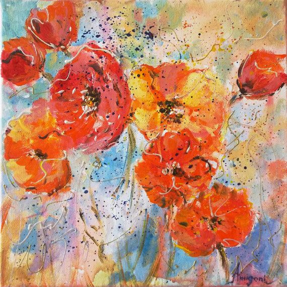 Original floral paintingpoppies by AntigoniArtGallery on Etsy