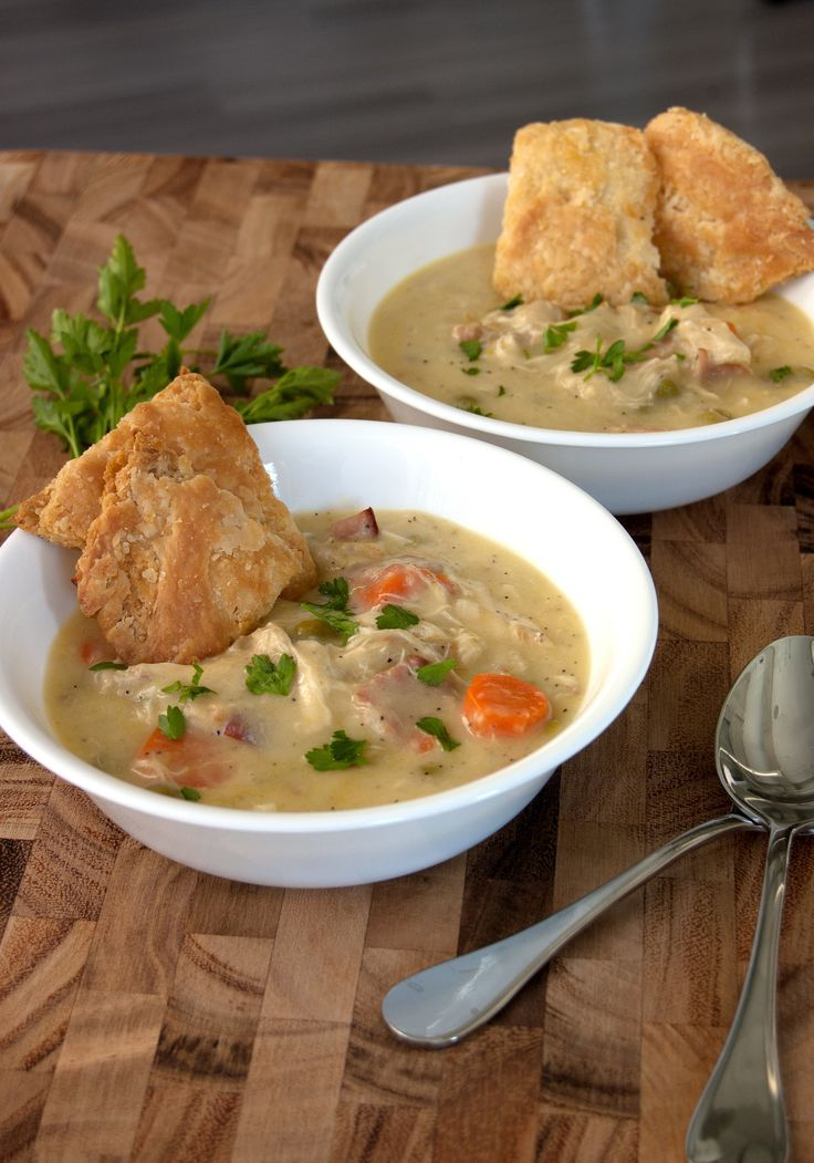 Chrissy Teigen's chicken pot pie soup with crust crackers from Cravings cookbook.