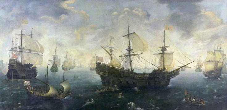 C.C. van Wieringen The Spanish Armada off the English coast - Galeón…