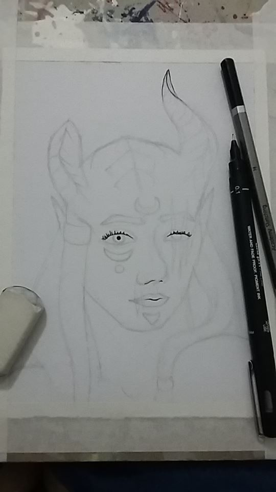 Pre-painting sketch of a portrait of Térrkaa, the Seraphim of El.