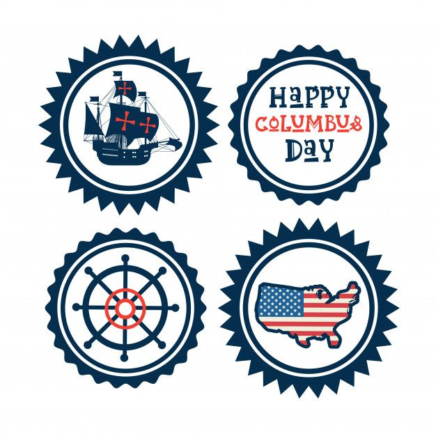 Happy Columbus Day National Usa Holiday Greeting Card Icon Set Isolated