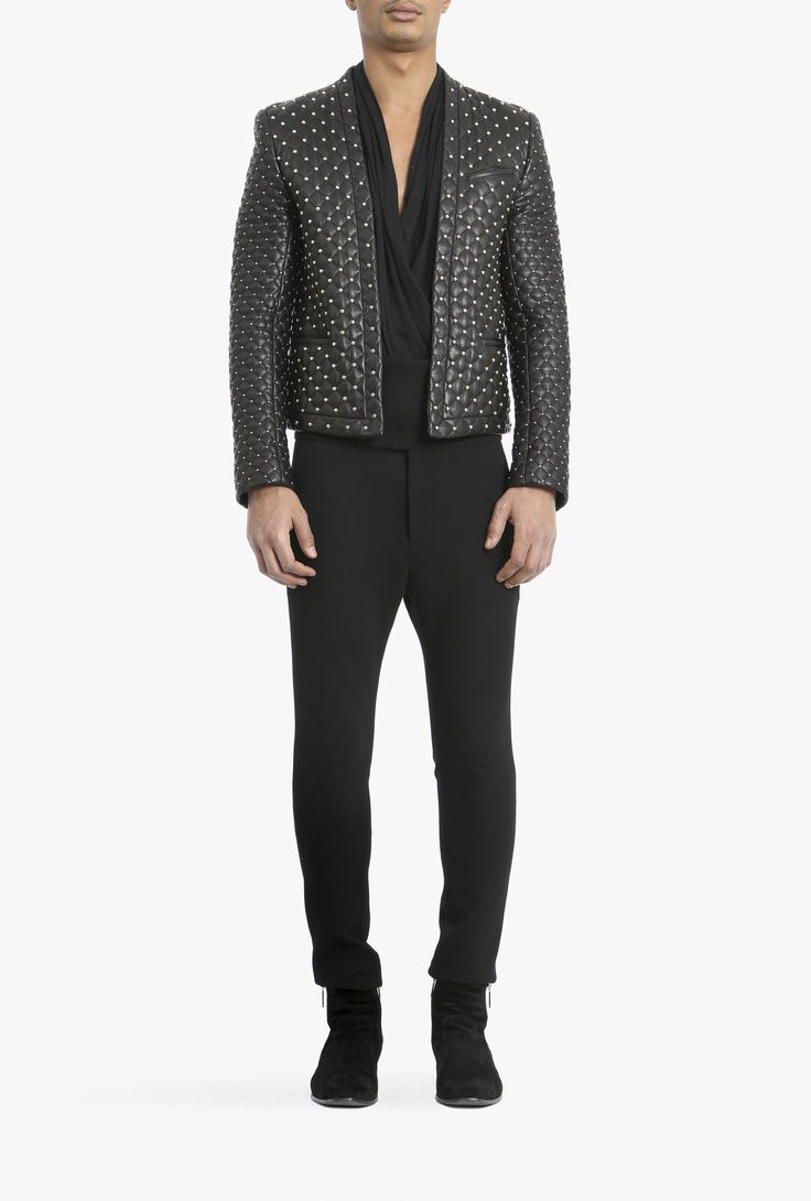 Quilted leather spencer jacket with studs | Mens leather blazers | Balmain http://www.99wtf.net/men/mens-fasion/mens-urban-trouser-2016/