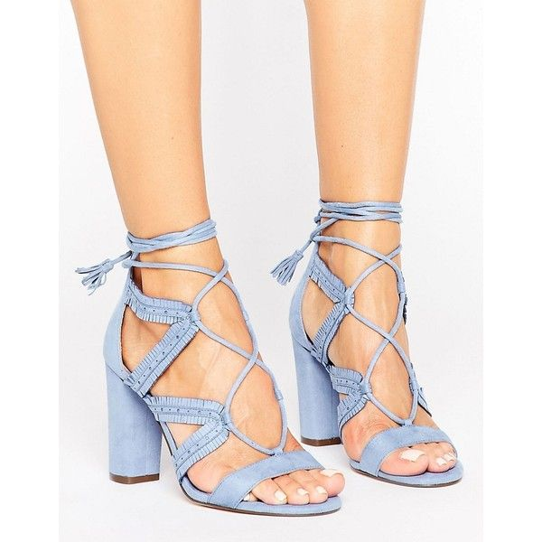 Call It Spring Veriri Ruffle Lace Up Heeled Sandals ($63) ❤ liked on Polyvore featuring shoes, sandals, blue, strap sandals, lace up block heel sandals, lace-up sandals, blue high heel sandals and strappy lace up sandals