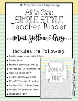 *FREE UPDATES EACH YEAR!* Version:  2016-17 School YearThis teacher binder set includes the following:  binder covers and spine labels (with and without dates), binder tabs, Parent Communication Log, Professional Development Log, Meeting Notes form, Logins/Passwords form, Websites to Remember form, Notes form, Student Birthdays form, July 2016-July 2017 Teacher Calendar, student information binder cover, gradebook form, and Student Information form.