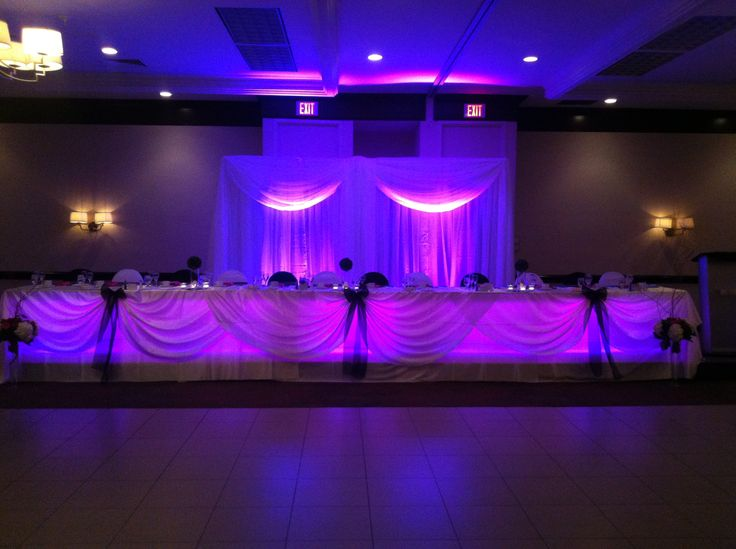 Pink Uplighting at the Head Table- Holiday Inn Burlington Hotel & Conference Centre