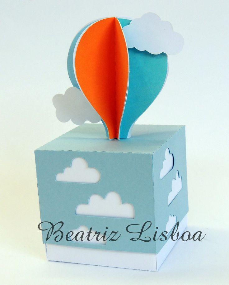 Caixa Personalizada com Balão em 3D Ideal para doces Papel color plus 180 grs