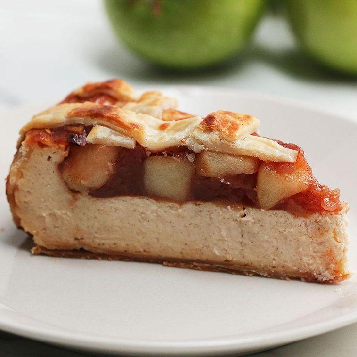 Apple Pie Cheesecake (fat free cream cheese, fat free sour cream, egg whites) | tasty