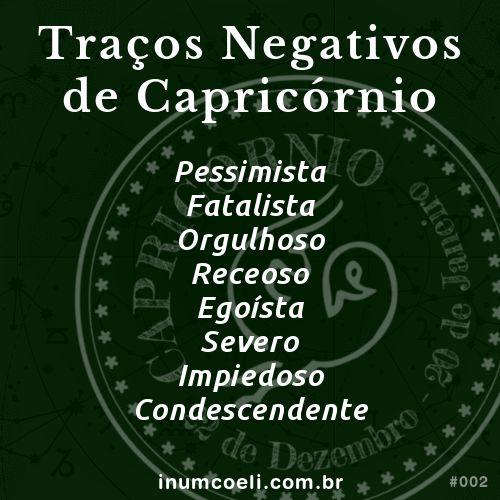Traços Negativos de Capricórnio