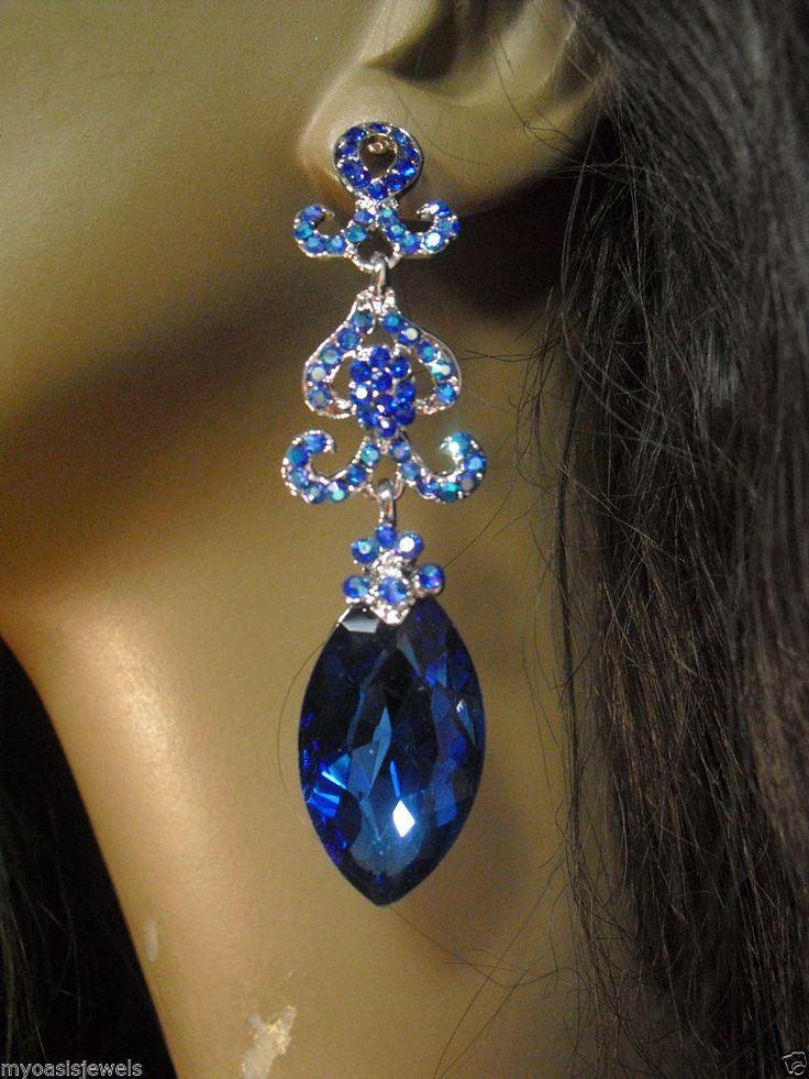 Austrian Crystal Blue Chandelier Earrings Rhinestone ...