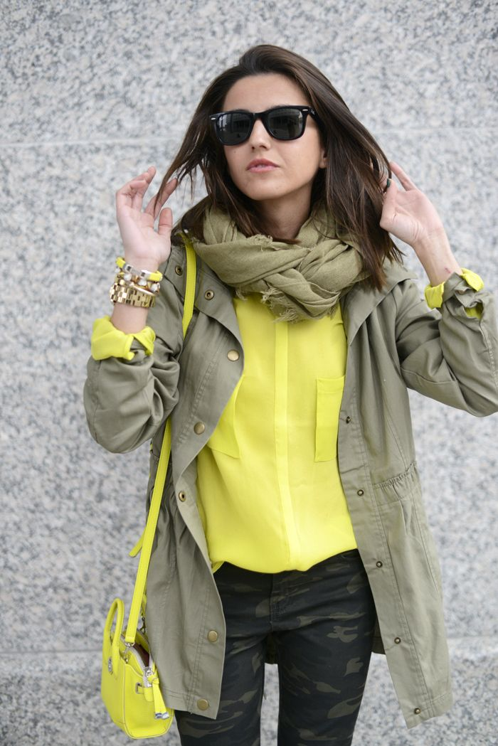 .:* L - Adorable spring outfit: yellow, taupe, and camo. Too cute! Love the accessories!