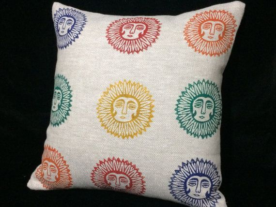 Natural linen pillow cover  with lady sun pattern by aruscraft