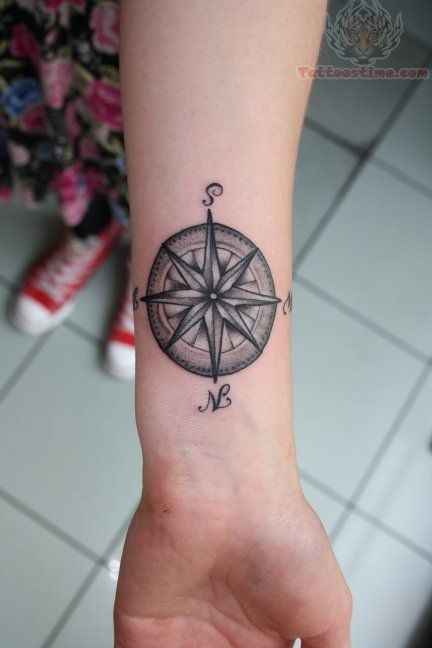 Compass Tattoo Forearm Men
