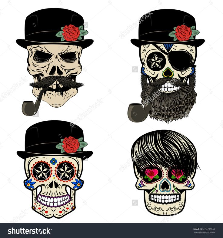 skulls with beard and hair. Vector design elements for label, logo, emblem, poster, t-shirt print template. Skull with beard and smoking pipe.