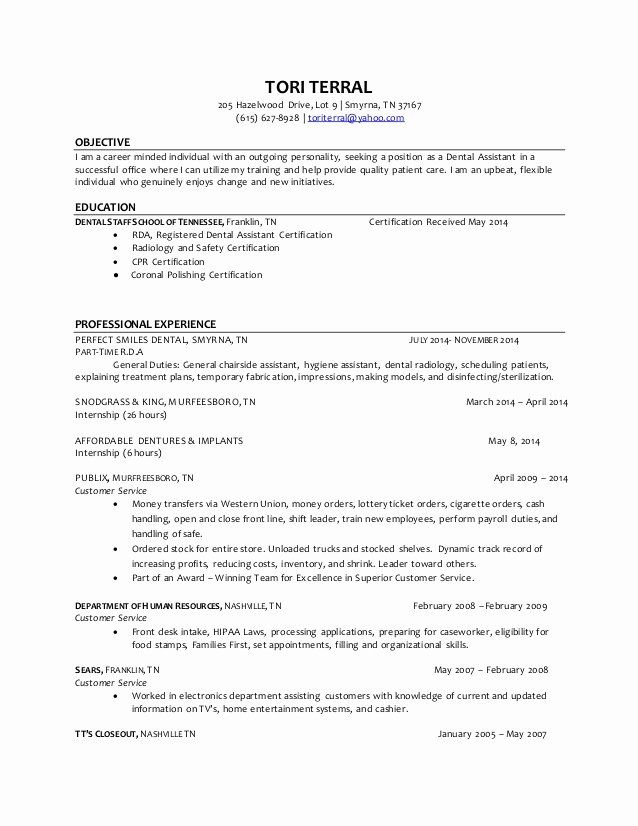 Dental Assistant Resume Example Lovely Tori Terral Dental Assistant Resume 4 Dental Hygiene Resume Dental Hygienist Resume Dental Assistant