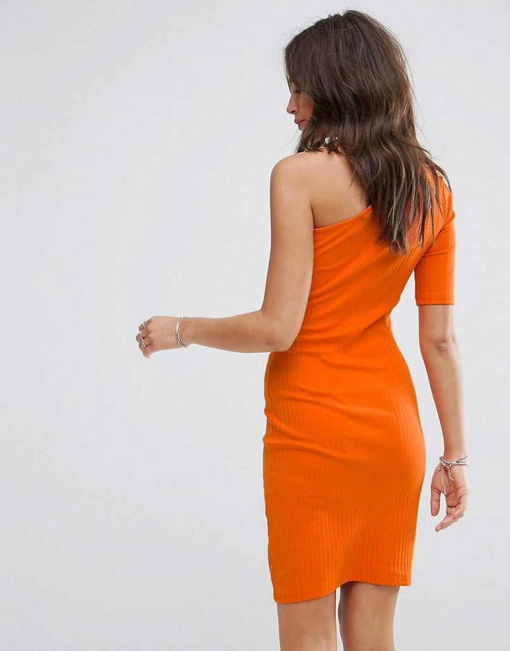 New Look Ribbed One Shoulder Body-Conscious Dress - Orange