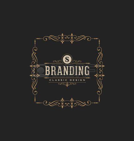 logo restaurant: Calligraphique de conception d'étiquettes Modèle - Classique style ornemental. Cadre de luxe élégant avec la typographie - logo Idéal pour restaurant, hôtel, un café et d'autres entreprises avec l'identité visuelle d'entreprise classique