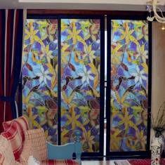 Películas para janelas estáticas 3 metros orquídea filmes pvc decalques da janela não-cola arte garfo de vidro do banheiro