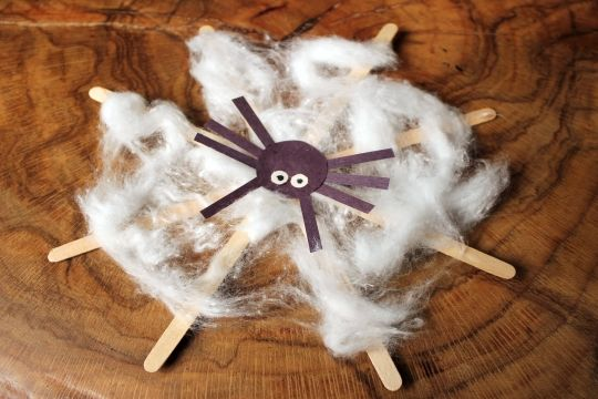 Halloween Crafts for Kids | Spider Crafts: Craft Stick Spider Web