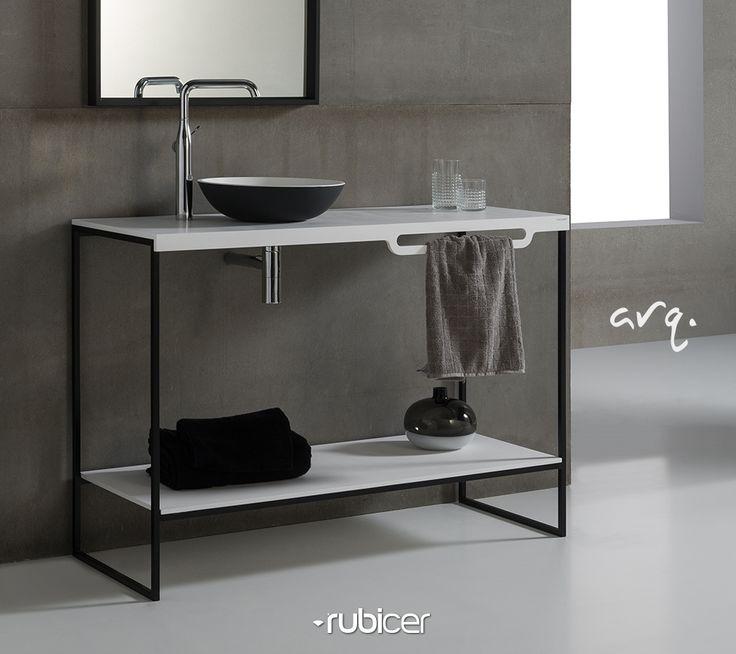 """Móvel suspenso """"Arq."""" com um design simples e funcional: a solução ideal para quem vive a máxima de """"menos é mais"""". Uma solução em Corian® que, se revela apenas em vantagens: um material não puroso, fácil de limpar, resistente a manchas e a bactérias. Um material durável e fácil de renovar.*lavatório incluído, em corian**acessórios não incluídos#corian #rubicer #washbasin #minimal #lessismore #white #black #simplicity #clean #design #function"""