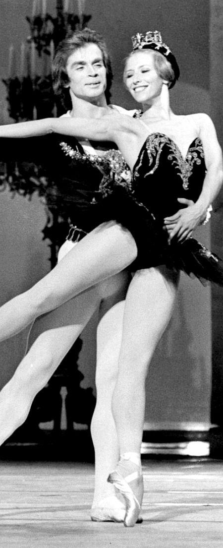 Great Russian ballet dancers Rudolf Nureyev  and Natalia Makarova rehearsing Swan Lake at the Coliseum in London. Photo by Leonard Burt.   SWAN LAKE