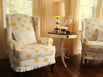 Furniture U0026 Accessories, Stunning White Yellow Dandelion Slipcovers For  Wingback Chairs Chair Covers Recliner How To Make Slipcovers Wing Slipcover  ...