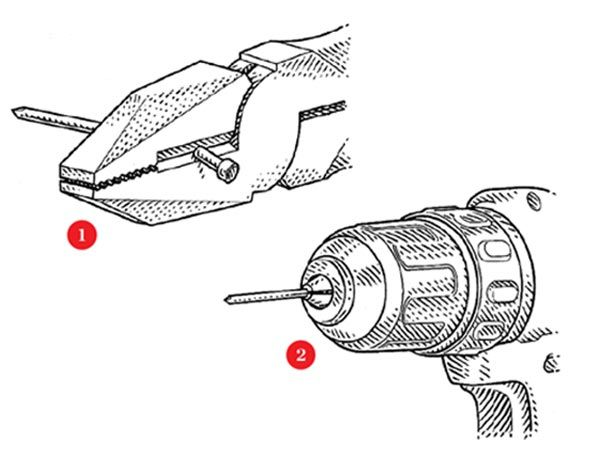 illustration showing how to cut the head off a nail and fit it into the chuck of a drill as a bit to create a correct-size pilot hold