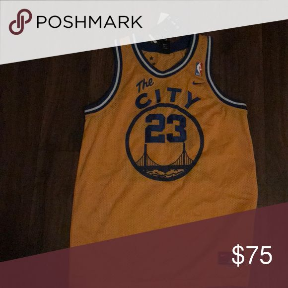 Golden state Warrior's Jason Richardson Gold and Blue stitch Retro Jersey. FITS like a medium in Men's. Nike Shirts Dress Shirts