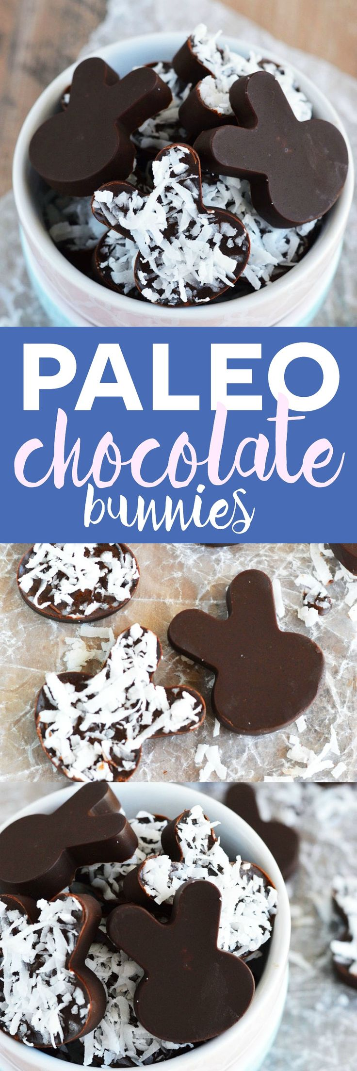 Simple paleo chocolate bunnies are perfect for fun Easter treats. They're quick and easy to make. Use any shape mold you want for chocolates year-round.
