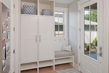 Similar set up - larger space to left of window and utilize space under window for pull out shoe drawers with charging station above