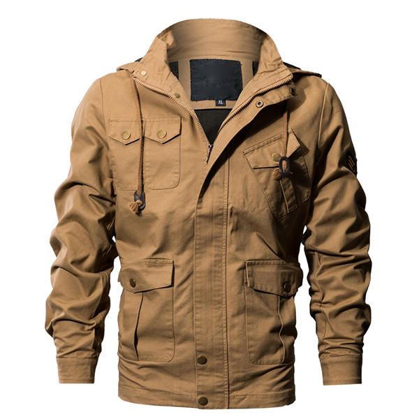 Casual Work Multi Pockets Washed Cotton Hood Military Jacket at Banggood