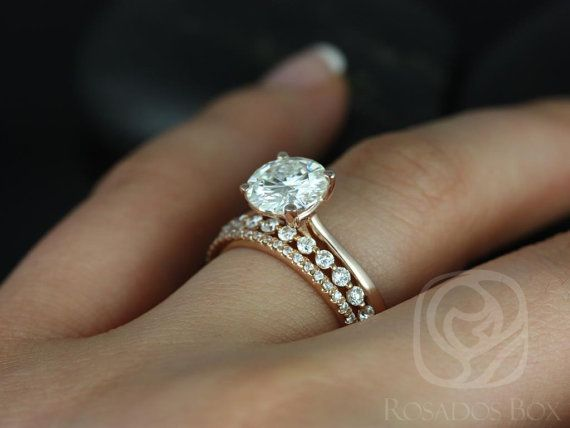 This wedding set is perfect for those who are classics! This clean design is both feminine and practical. It can sit flush against any band! All stones used are only premium cut, fairly traded, and/or conflict-free! Our diamonds are always natural NEVER treated or enhanced for better color or clarity. Our products are only created with the finest of recycled metals. Rosados Box™ works hard to save the world one piece of jewelry at a time! :) To see the engagement ring only, please click h...