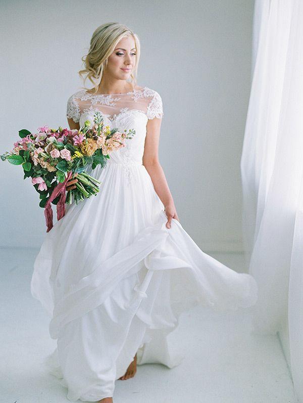 Ash gown   illusion neckline wedding dress