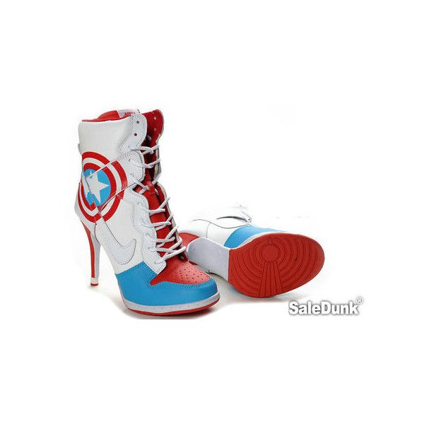 Captain America Nike SB Dunk High Heels ❤ liked on Polyvore featuring shoes, nike footwear, high heel shoes, nike, high heeled footwear and nike shoes