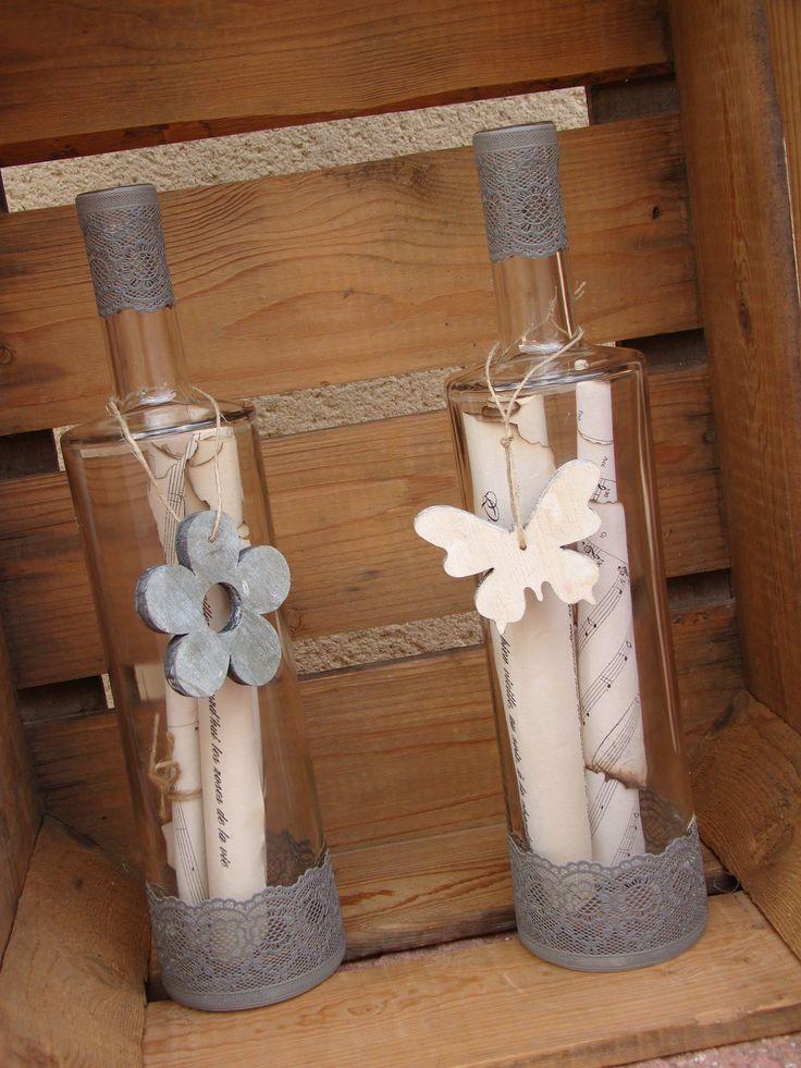 Bouteille en verre décorative fleur ou papillon : Accessoires de maison par alittlecreations