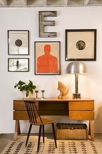 Large E with framed art. Perfect arrangement for Eric!