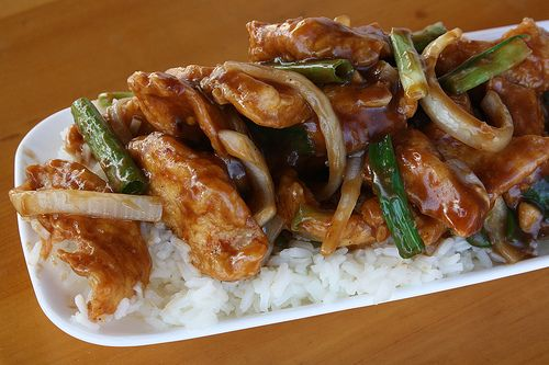Mongolian chicken - going to try this. Pan sautee it with a little oil and it will be light.