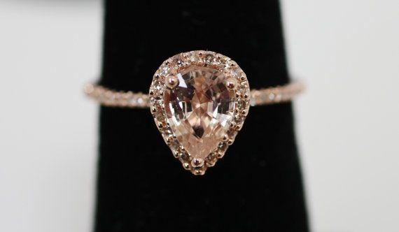 tear drop rose gold ringSapphire Rings, Tears Drop, Diamonds Rings, Gold Rings, Wedding Rings, Dreams Rings, Peaches Sapphire, Rose Gold, Engagement Rings